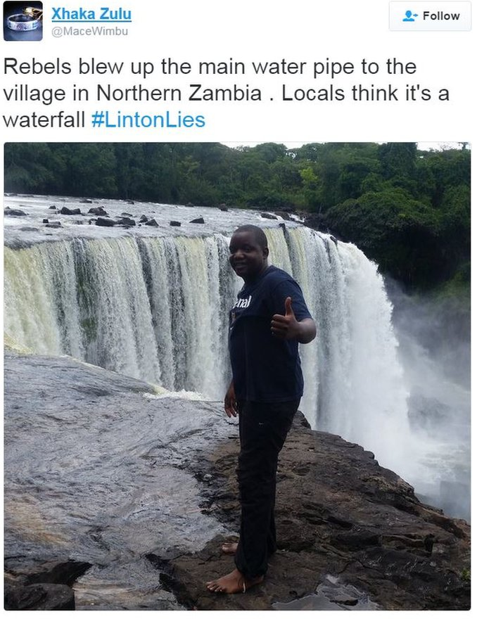 Tweet joking that Linton mistook a waterfall for a burst water pipe