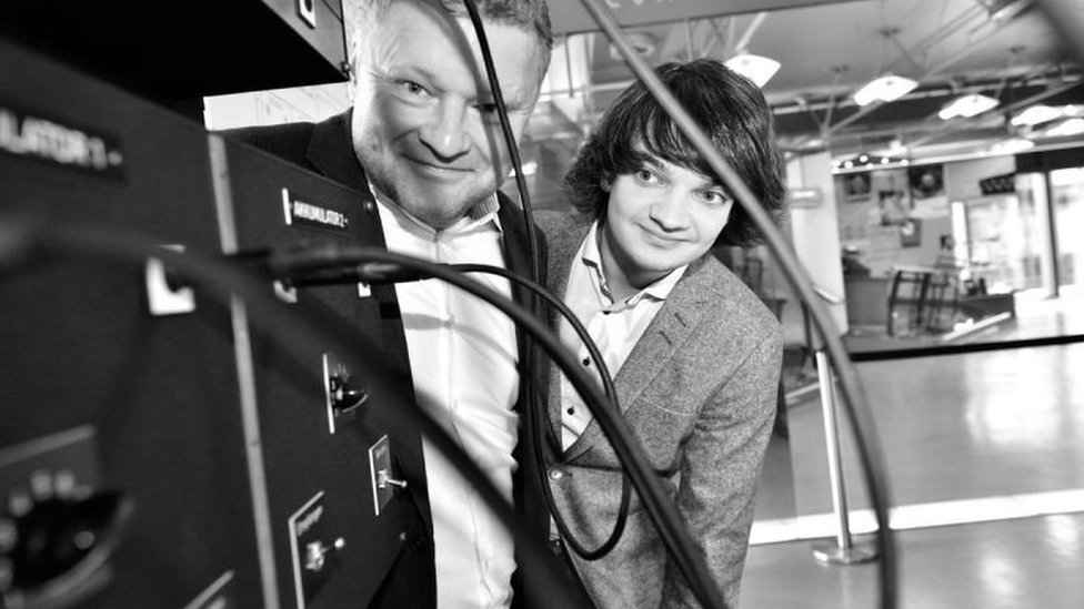 Dr Jochen Viehoff and Johannes Blobel with the recreated Eniac accumulators