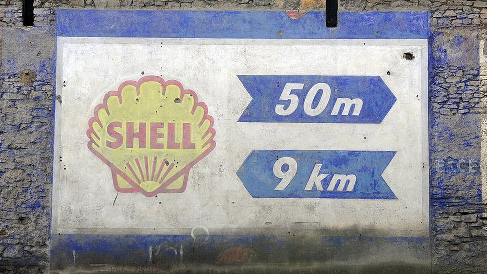 Painted sign for Shell petrol station