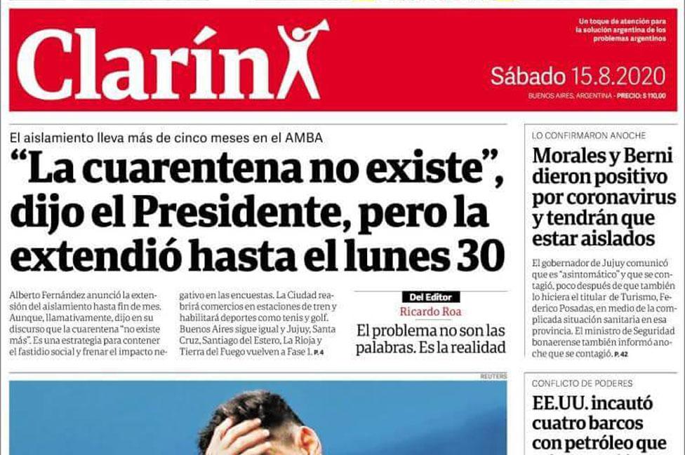 Imagem de manchete do jornal Clarín