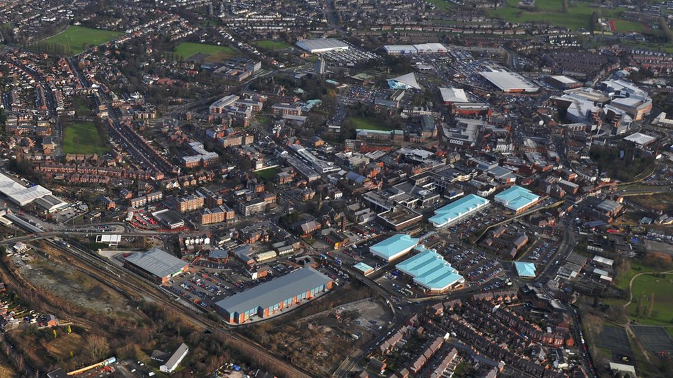 birds eye view of Wrexham