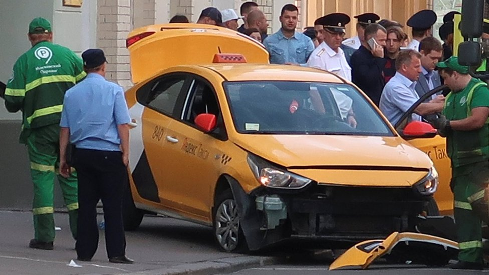 Damaged taxi in Moscow on 16 June 2018