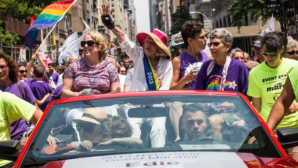 Edie Windsor, who successfully sued the US government in a court case that went to the Supreme Court for banning gay marriage in California, at the New York Gay Pride Parade, 30 June 2013