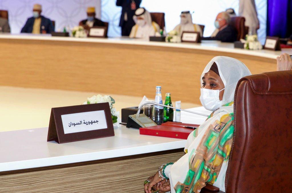 شاركت وزيرة الخارجية السودانية مريم الصادق المهدي في اجتماع تشاوري مع نظرائها العرب في العاصمة القطرية الدوحة ، 15 يونيو/حزيران 2021.