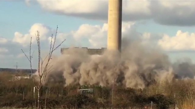 Smoke and debris from explosion at Didcot Power Station