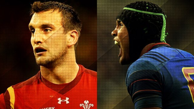 Wales captain Sam Warburton at France captain Thierry Dusautoir at the 2015 Rugby World Cup