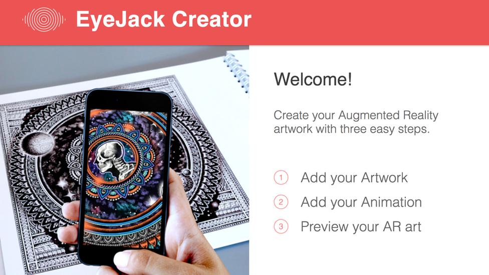 Screengrab from Eyejack Creator page