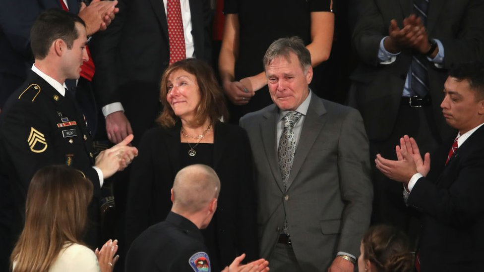 Fred and Cindy Warmbier were guests at Mr Trump's 2018 State of the Union speech