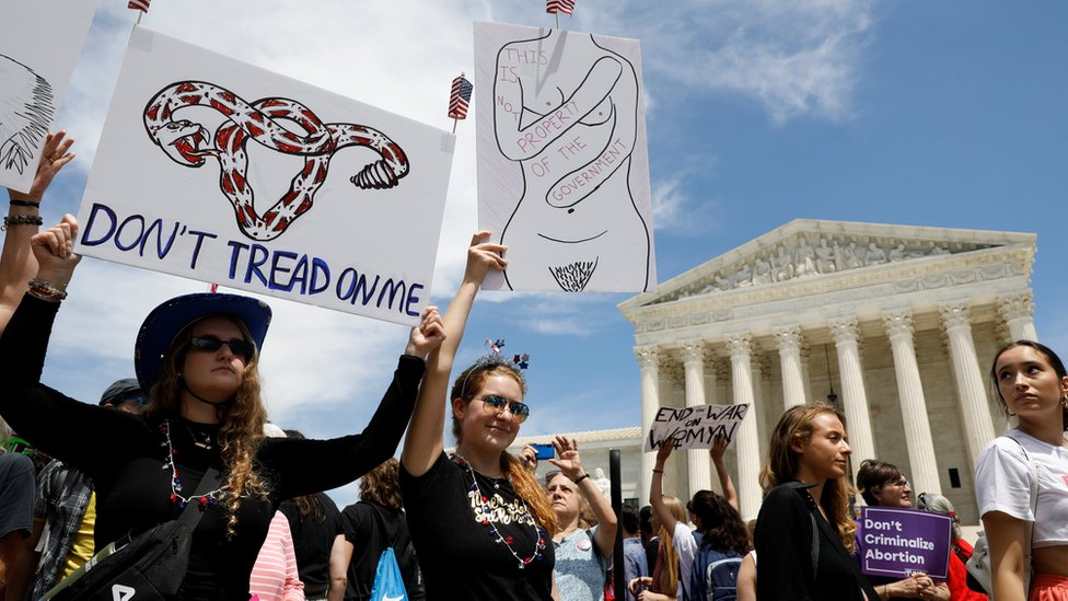 Abortion rights demonstrators hold a rally outside the U.S. Supreme Court in Washington