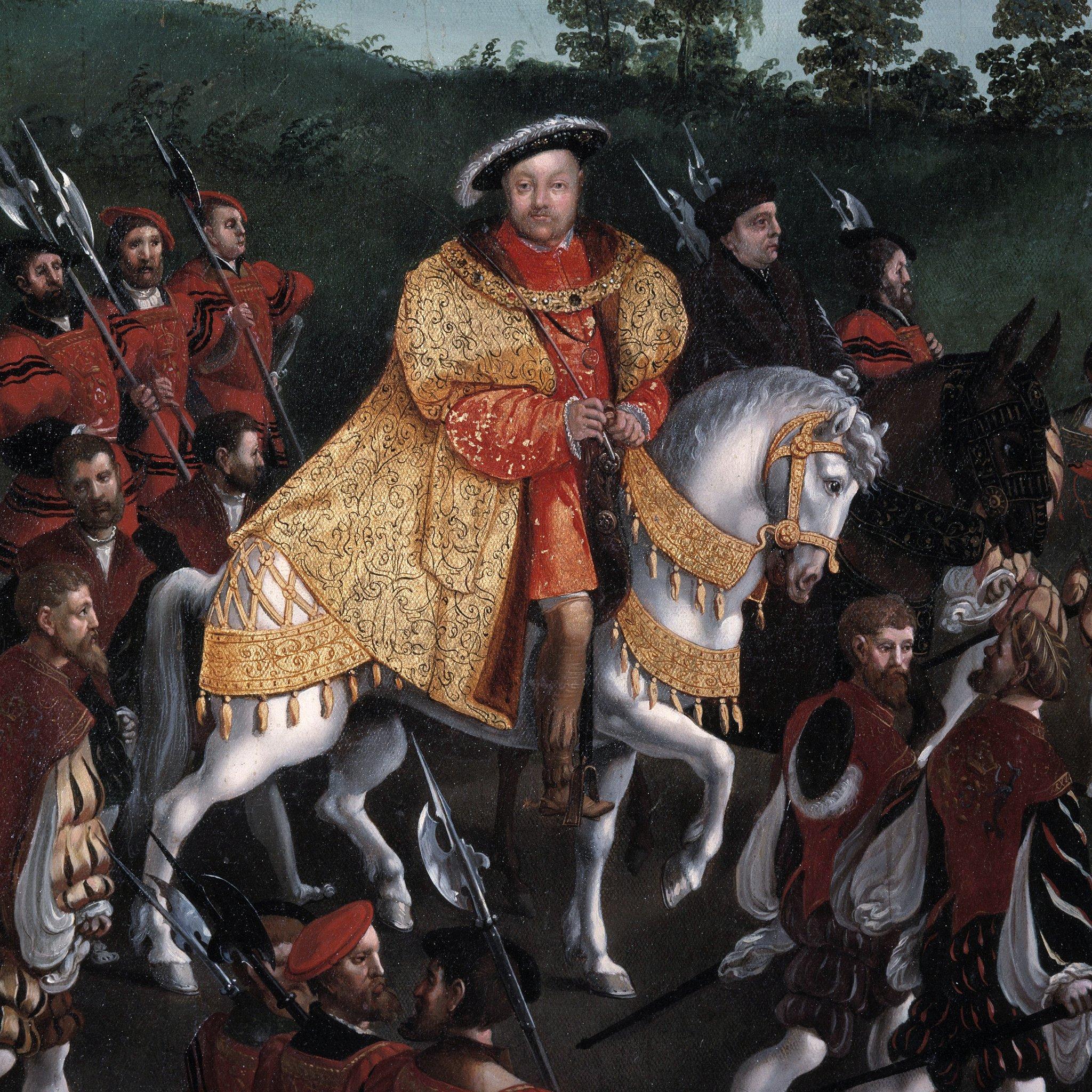 El rey Enrique a caballo, una de las tres veces que aparece el rey inglés aparece en la pintura.