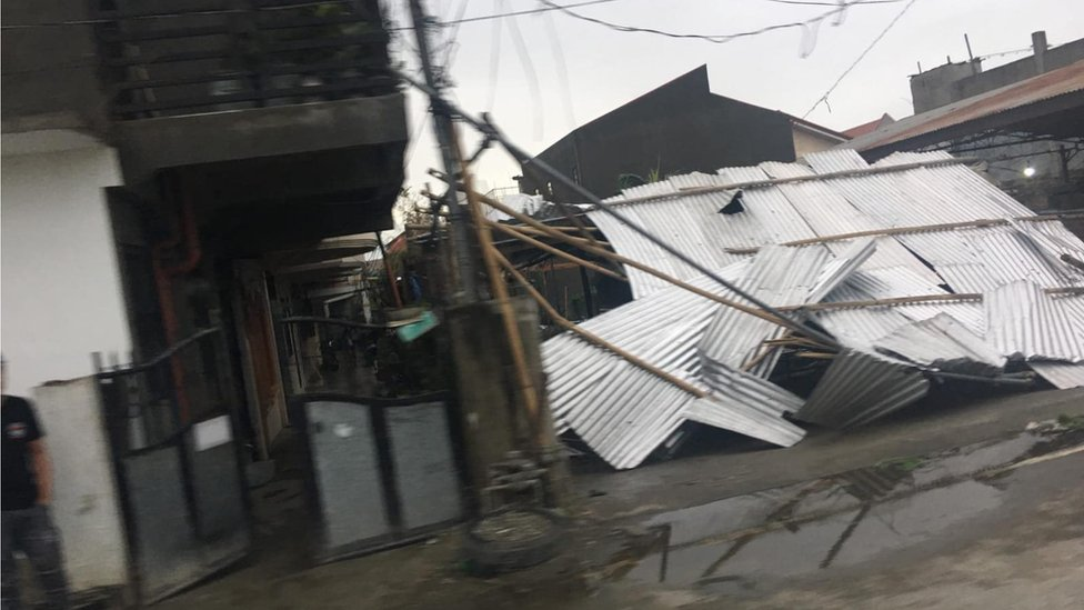 Collapsed roof of a building in Tuguegarao