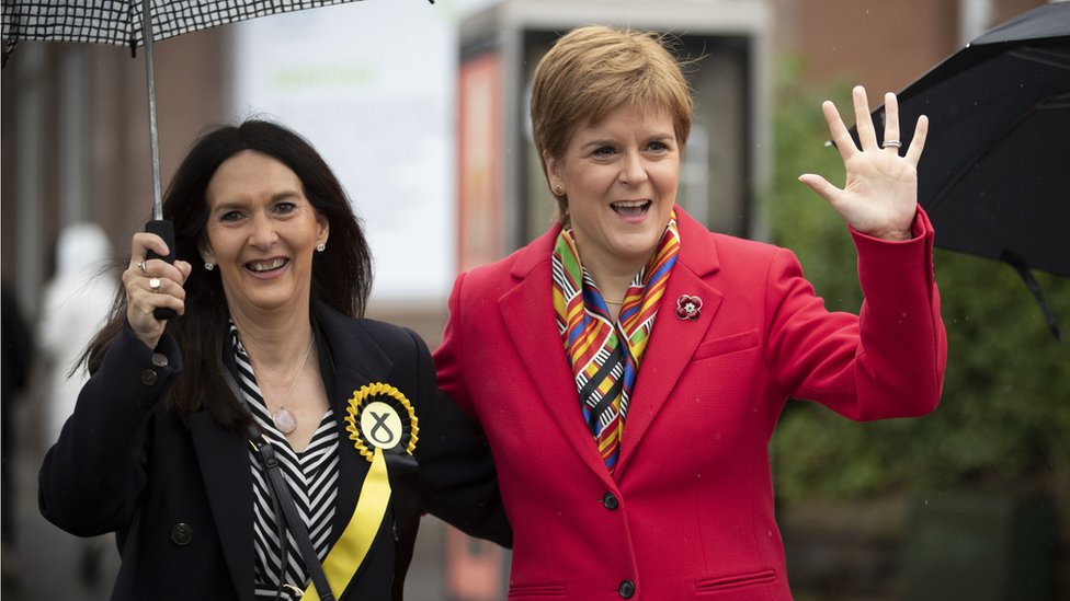 SNP leader Nicola Sturgeon (right) with Margaret Ferrier, SNP candidate for Rutherglen,