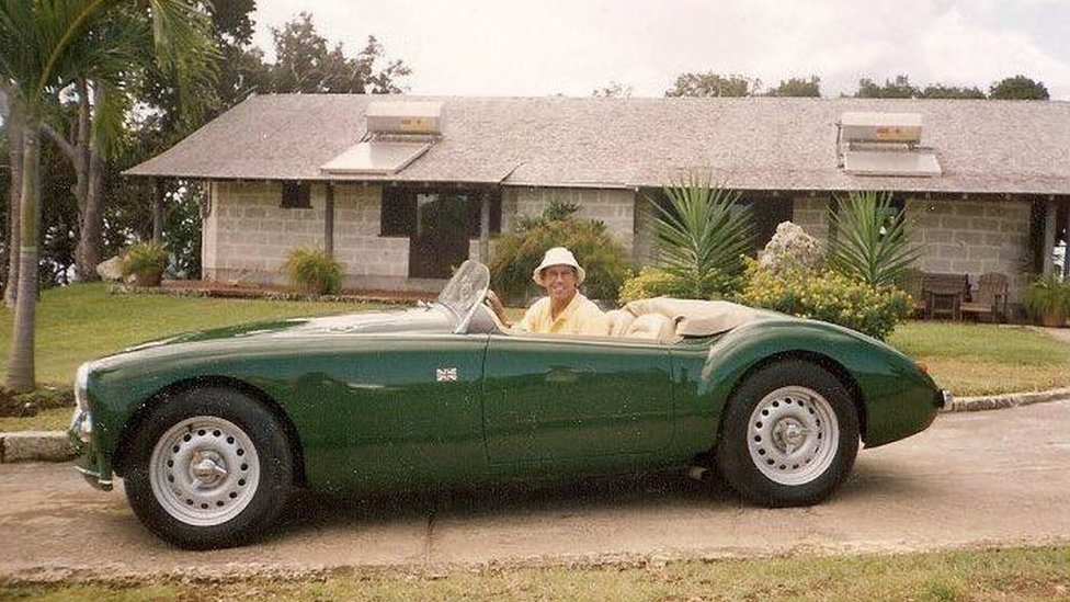 Robert Davis in the MG in Barbados in the 1990s