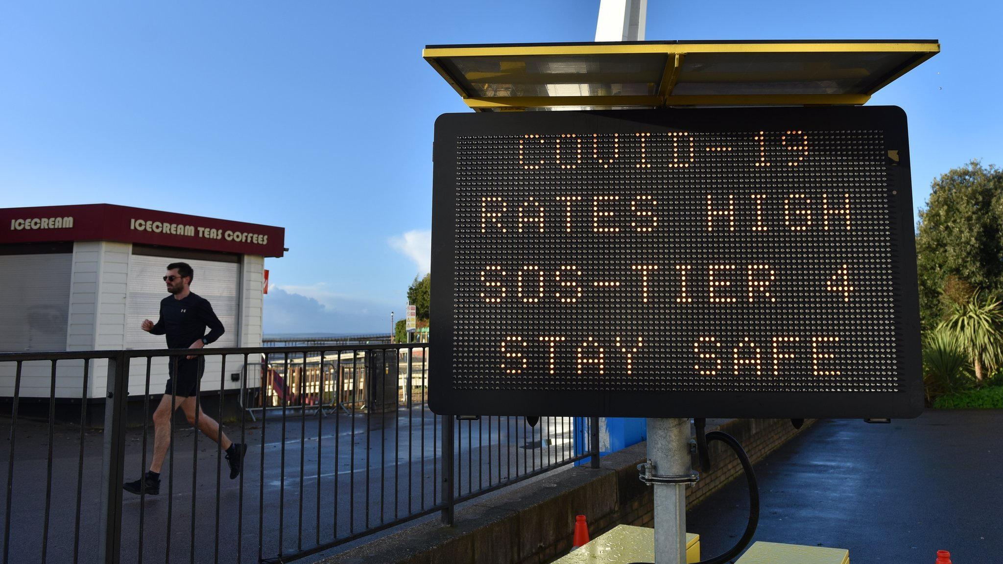 Sign warning of high case rates in Southend-on-Sea, Essex