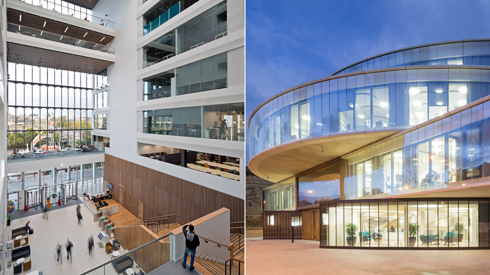 City of Glasgow college and the Blavatnik School of Government in Oxford