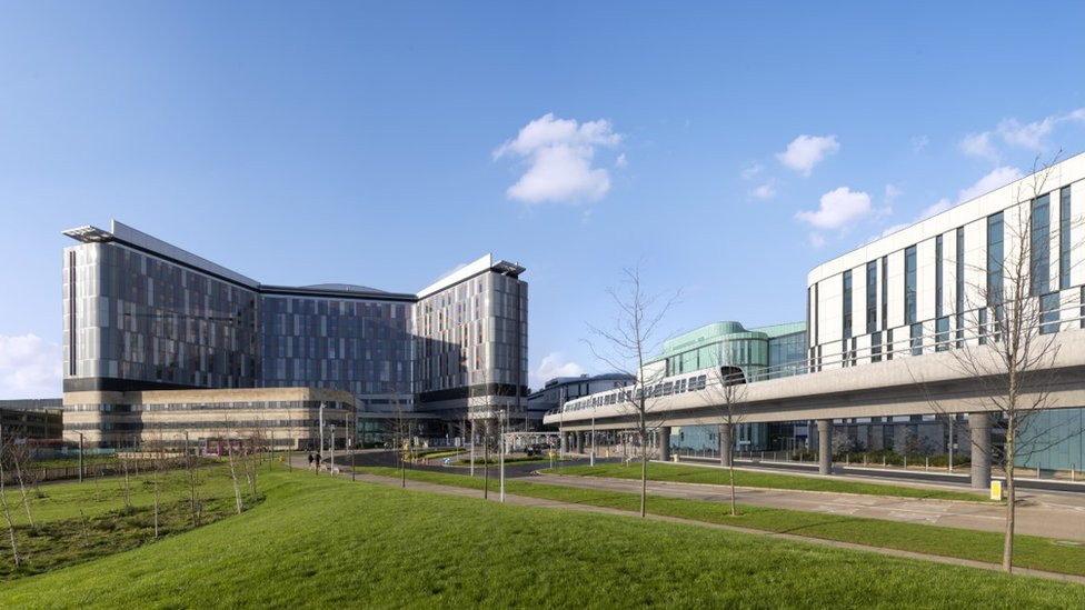 A visualisation of Glasgow's Queen Elizabeth University Hospital with the metro system