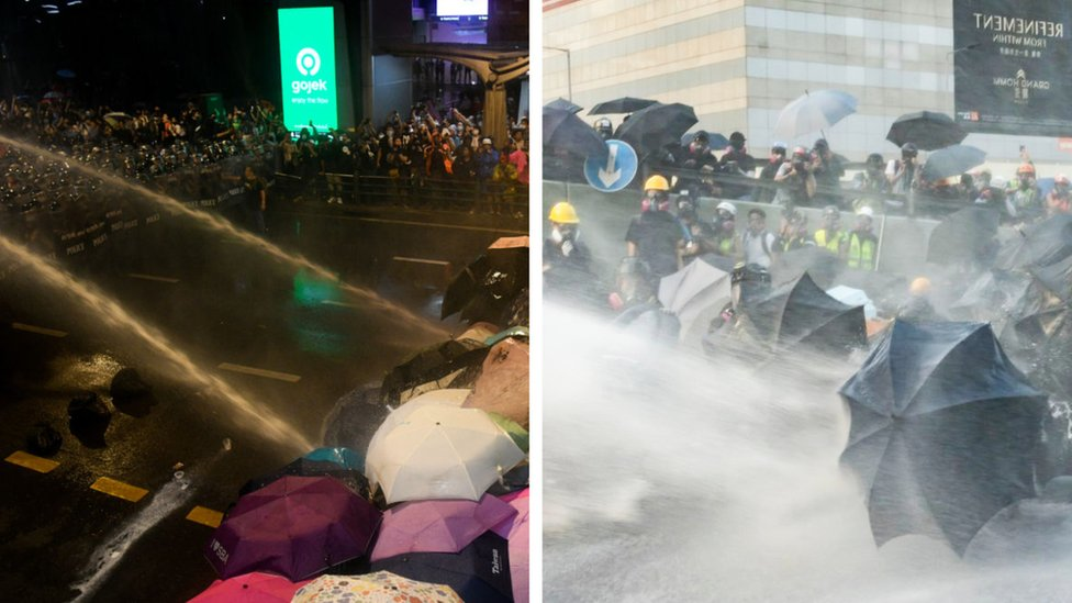 曼谷(左)與香港(右)的示威者用雨傘抵擋水炮車。