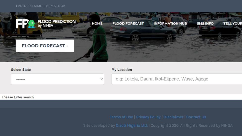Captura de pantalla de la web de la aplicación Flood.