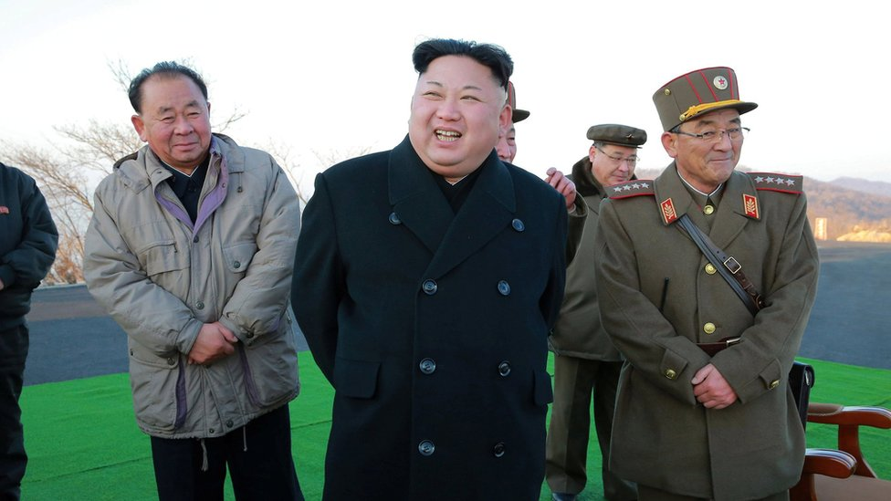 North Korean leader Kim Jong-un supervised a missile test in image from state media on 7 March 2017