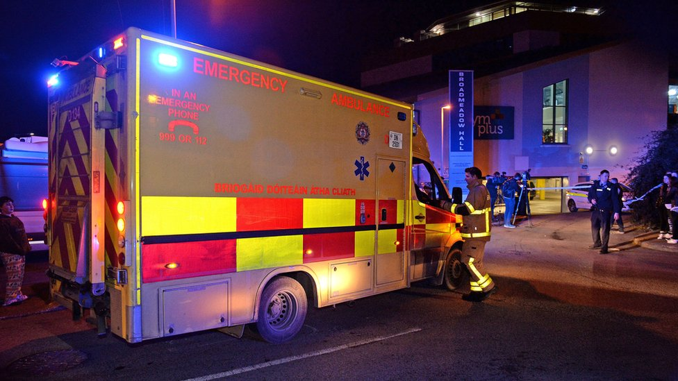 An ambulance at the scene of the shooting in Swords