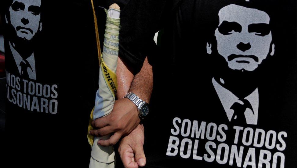 Simpatizantes de Jair Bolsonaro en Brasil