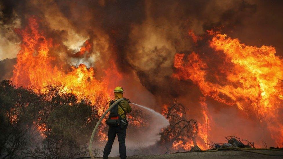 bombeiro combate incêndio na Califórnia