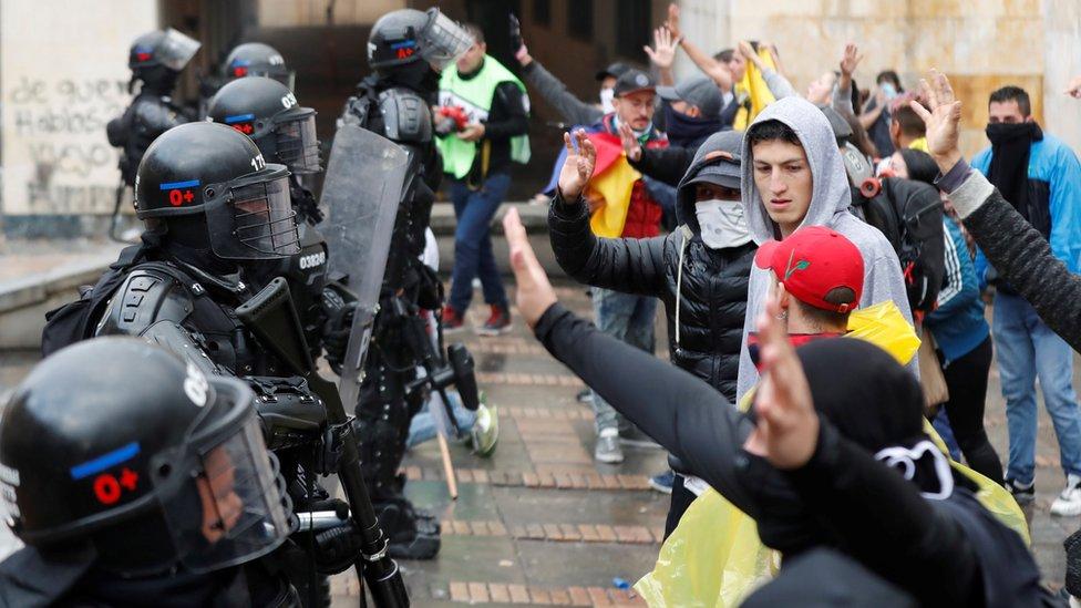 Başkent Bogota protestoların en kalabalık olduğu bölgelerdendi.