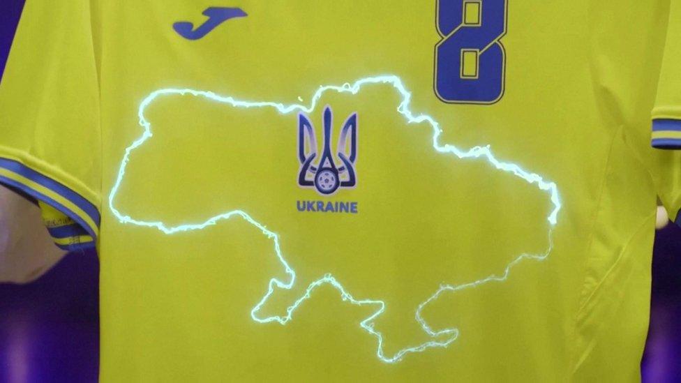 Ukraine`s shirt, showing a map of Ukraine including Crimea