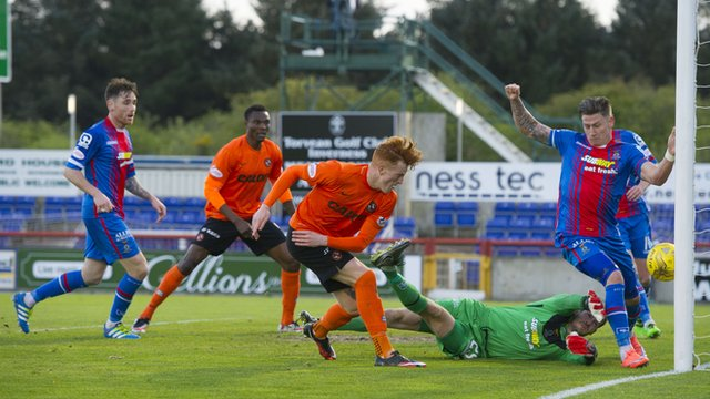 Simon Murray scores for Dundee United against Inverness Caledonian Thistle