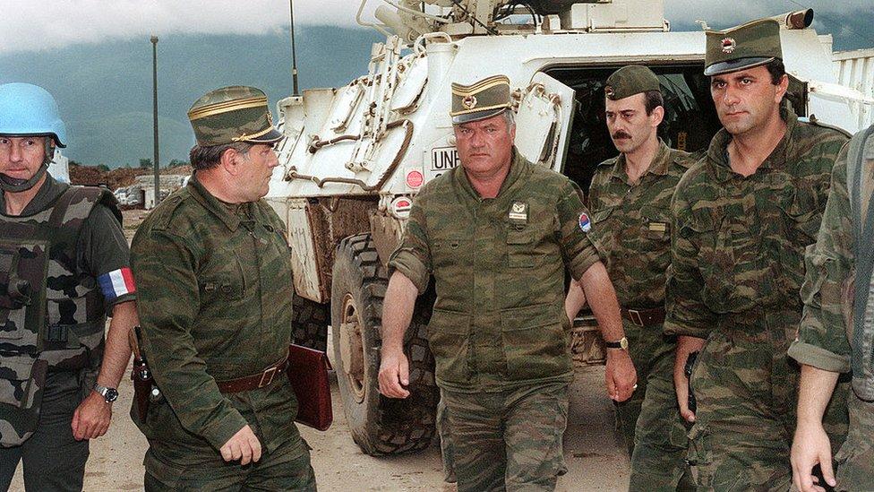 Ratko Mladic (centre) arrives in Sarajevo in 1993