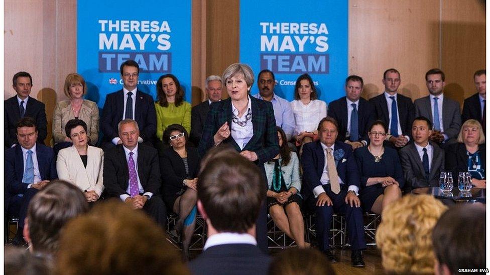 Theresa May at an 2017 election rally