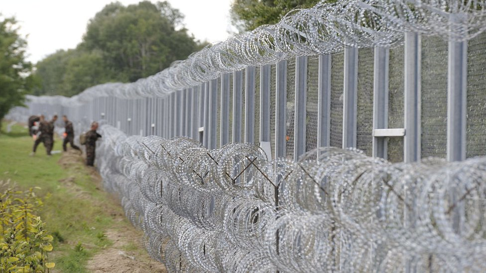 Fence on border between Serbia and Hungary is seen in Roszke. 7 Sept 2015