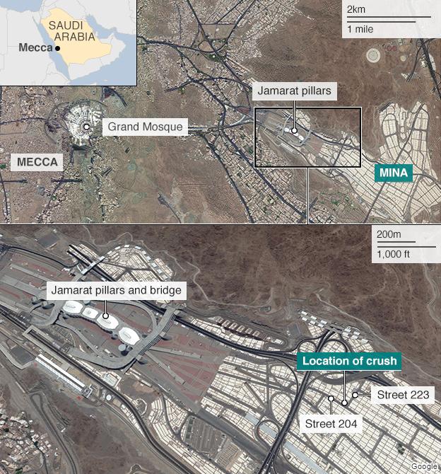 Map showing location of Hajj crush - 24 September 2015