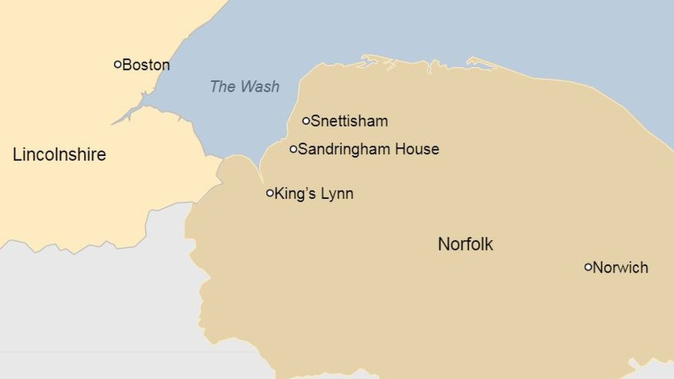 Map showing Snettisham and The Wash