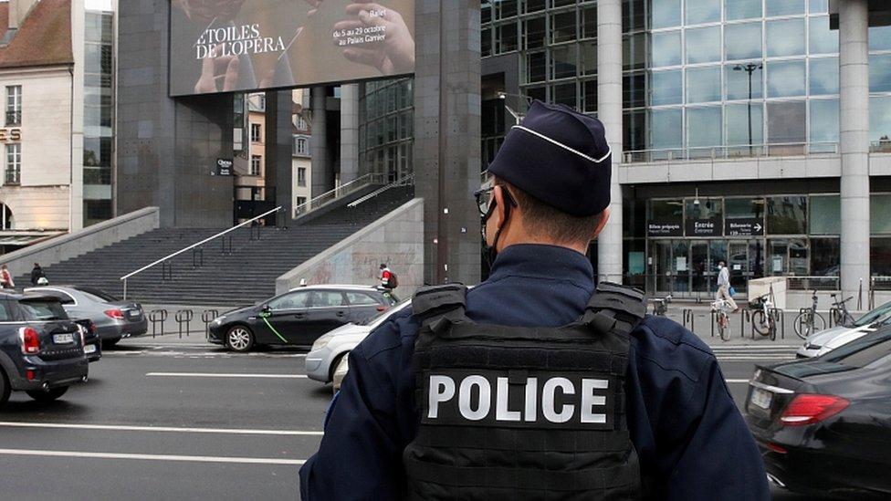 Police officer near the scene of the stabbing in Paris, September 25, 2020