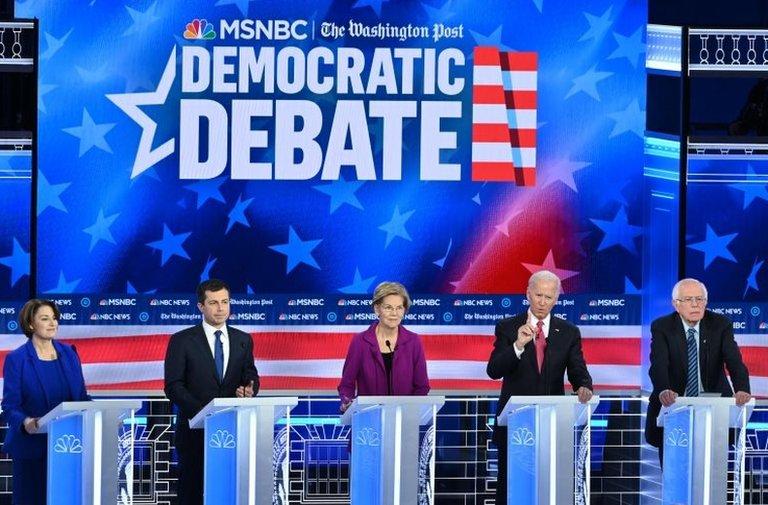 Amy Klobuchar, Pete Buttigieg, Elizabeth Warren, Joe Biden ve Bernie Sanders