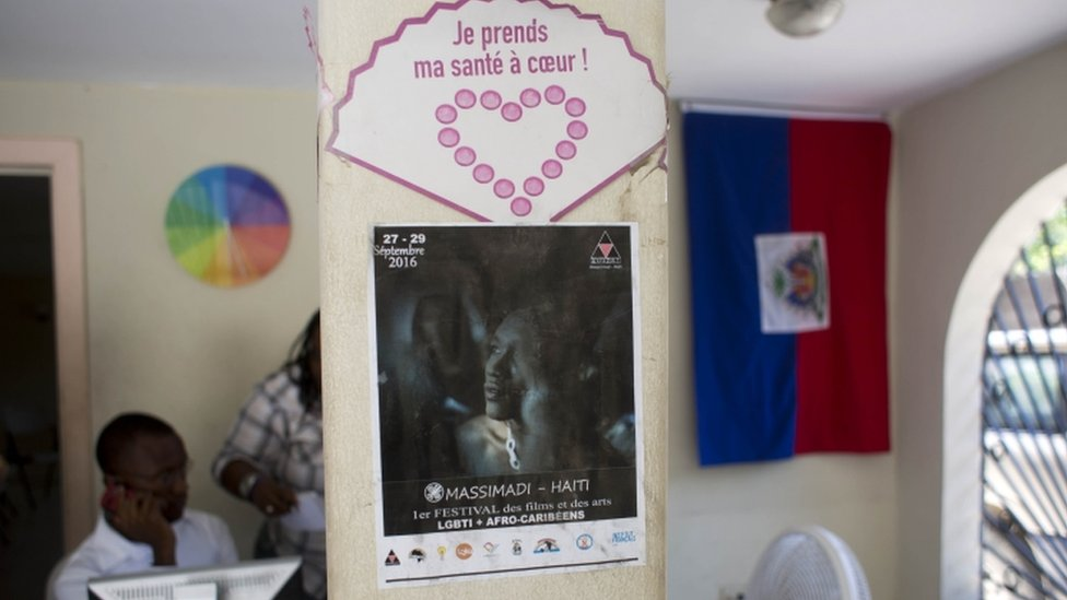 A Massimadi festival poster hangs at the Kouraj organization office in Port-au-Prince, Haiti, Tuesday Sept. 27, 2016.