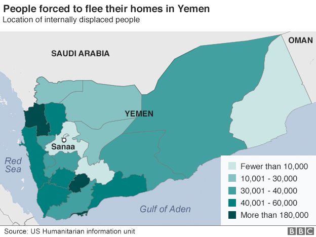 Map showing location of displaced people in Yemen