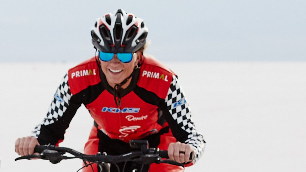 Denise Mueller-Korenek on a training ride on the salt in Utah, USA on 12 September 2018