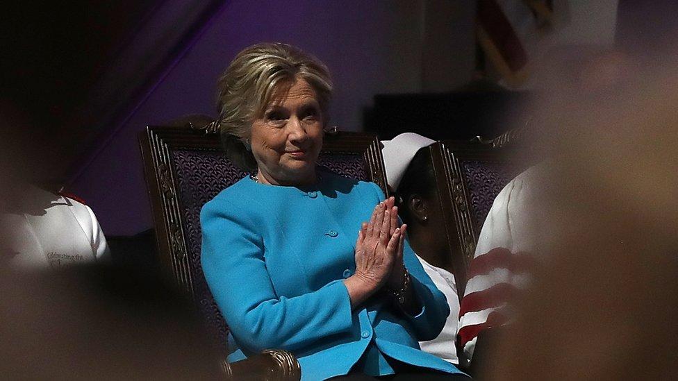 Hillary Clinton praying on 6 November
