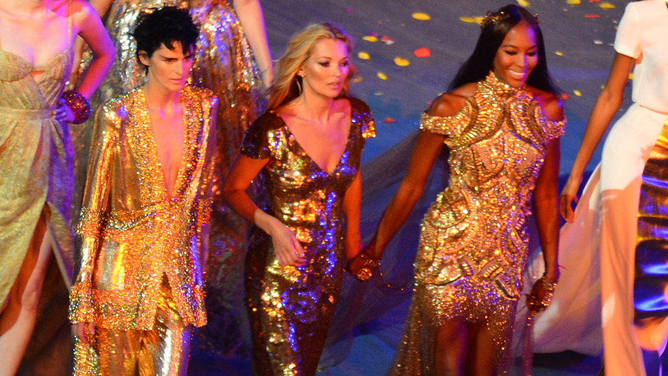 Tennant (left) with Kate Moss (centre) and Naomi Campbell at the London 2012 Olympics closing ceremony