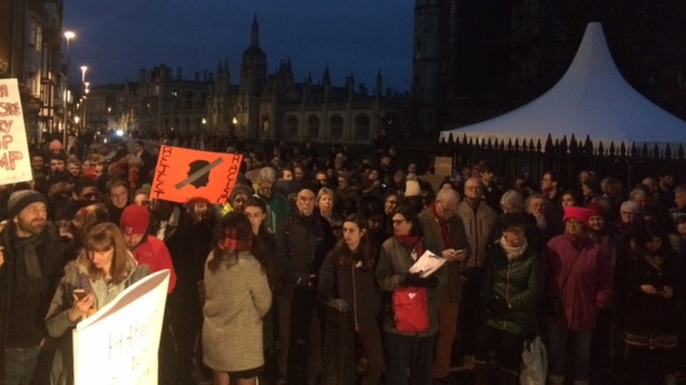 Protesters on King's Parade in Cambridge