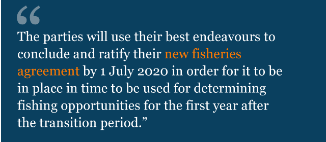 Text from political declaration saying: The Parties will use their best endeavours to conclude and ratify their new fisheries agreement by 1 July 2020 in order for it to be in place in time to be used for determining fishing opportunities for the first year after the transition period.