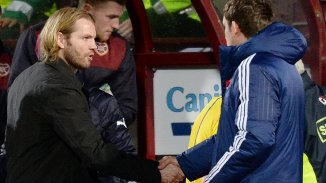 Hearts head coach Robbie Neilson and Hamilton player-manager Martin Canning