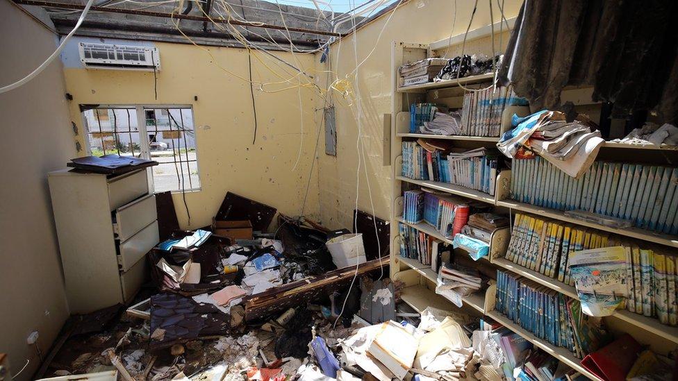 Seis meses después del huracán Irma, así lucía en marzo la escuela secundaria más grande de las Islas Vírgenes Británicas.
