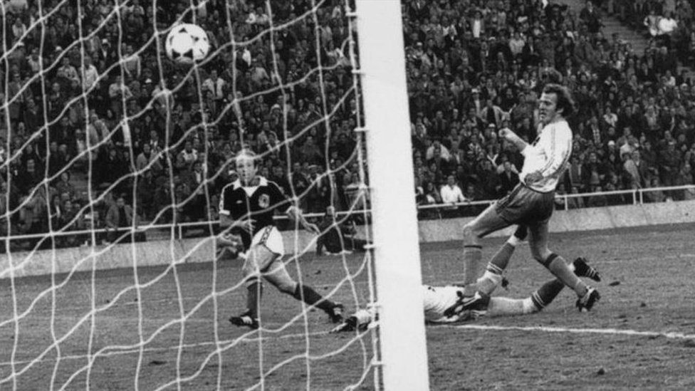 Archie Gemmill scores against the Netherlands in the 1978 World Cup