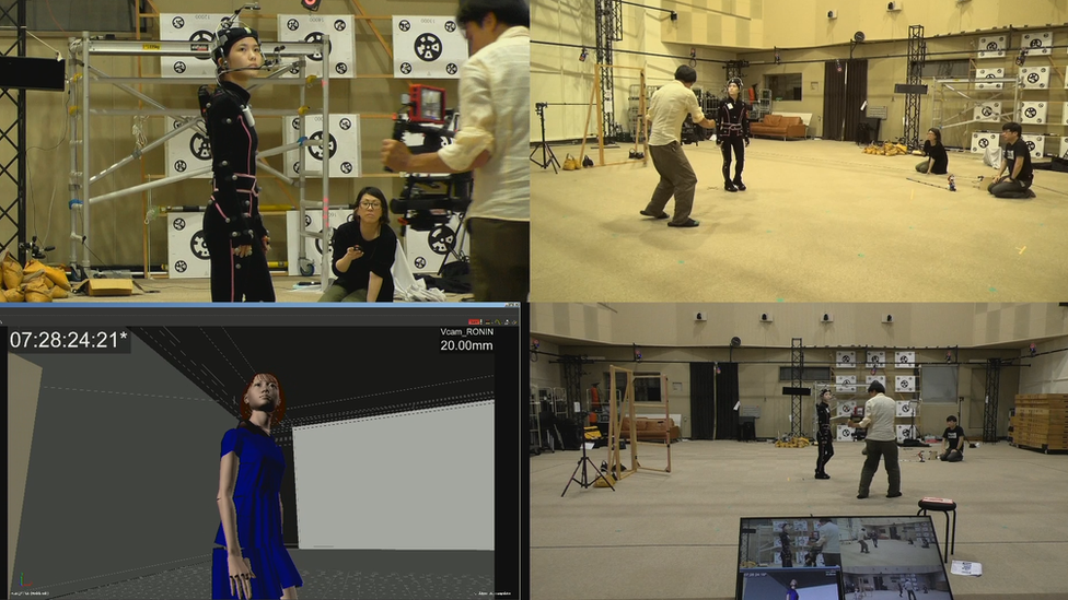 Different stages of Saya's movements being created