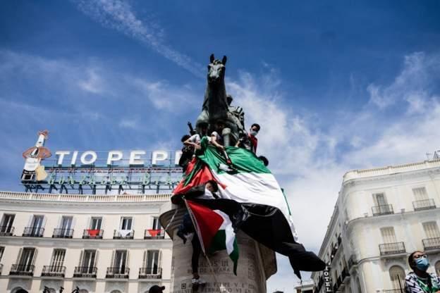 Protes menentang Israel di Madrid.