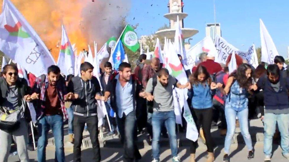 The moment of the explosion in Ankara, Turkey, Saturday 10 October 2015