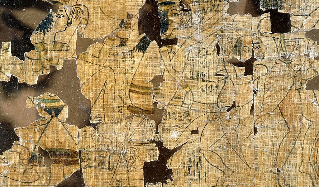 Detalle del Papiro de Turín que representa escenas de prostitutas, sus clientes y varias posiciones para hacer el amor. Egipto Antiguo. XIX dinastía c 1295 1186 a.C.